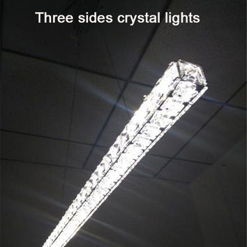 Modern L70Cm Long Bar Led Crystal Chandelier Dining Room Kitchen Restaurant Office Illumination Lighting Fixtures