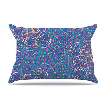 "Miranda Mol ""Kaleidoscopic Blue"" Blue Geometric Pillow Case"