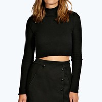 Bethany Button Detail Wool Look Mini Skirt