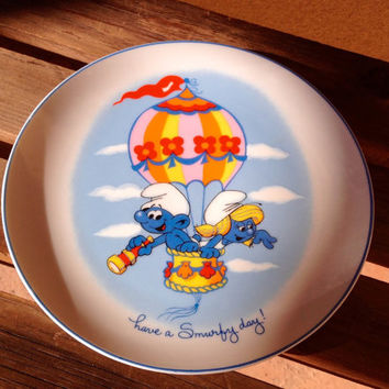 Smurf Plate Collectible Smurfs Plate, Have a Smurfy Day Plate, 80's Smurfs Cartoon Plate, Smurfs Collectors Gift, Smurf Memorabilia