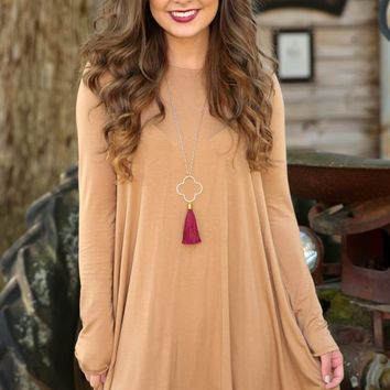 Simplicity Is Key T-Shirt Dress-Camel