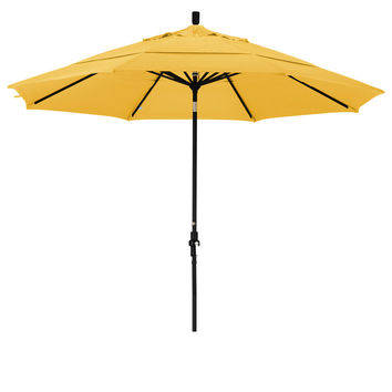 11 Foot Sunbrella 4A Fabric Aluminum Crank Lift Collar Tilt Patio Umbrella with Black Pole