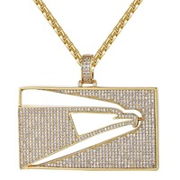 14k Gold Finish Custom Iced Out USPS Post Tennis Chain Pendant