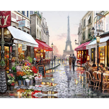Frameless Paris Street DIY Painting By Numbers Handpainted Canvas