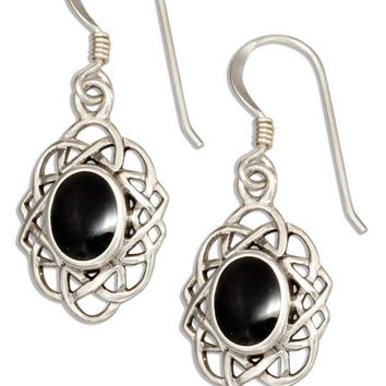 STERLING SILVER OVAL CELTIC WEAVE EARRINGS WITH SIMULATED BLACK ONYX