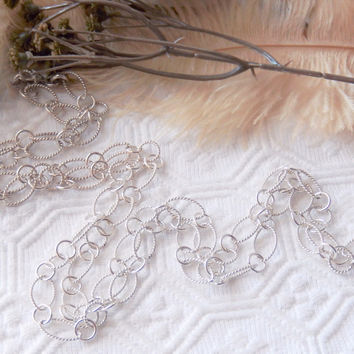 Sterling Silver Large Patterned Oval & Round Link 42 Inch Chain Necklace