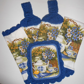 Kitchen Towel Set, Crochet Trim, Hanging Towels, Pot Holder, Dish Cloth Blue and White