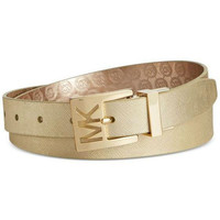 MICHAEL Michael Kors Metallic Saffiano to Jetset Logo Reversible Belt