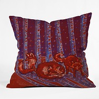 Renie Britenbucher Fox In Birch Batik Throw Pillow