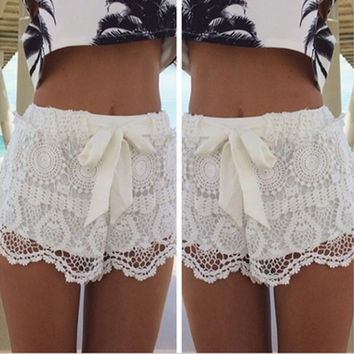New Fashion Women Mid Waisted Lace Chiffon Crochet Floral Bowknot Short Shorts Pants(Green,White,Black,S-XXL) [7687470022]