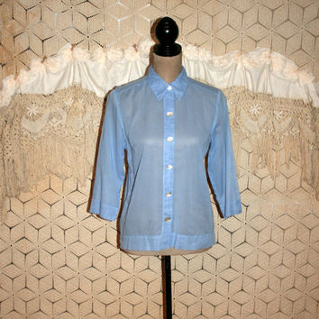 Cotton Blouse Light Blue Shirt Sheer Top Small 3/4 Sleeve Casual Shirt Button Up Blouse Blue Blouse Blue Top Sigrid Olsen Womens Clothing
