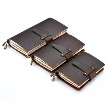 Moterm Genuine leather notebook Diary journal Handmade traveler notebook cowhide vintage retro style refill paper free shipping