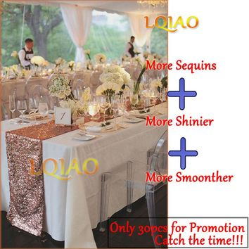12x72 Inch Sparkly Rose Gold Sequin Table Runner for Wedding Party Bridal Baby Shower Christmas Tablecloth Decorations 30X180cm