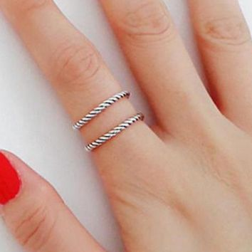 925 Sterling Silver Twisted Rope Adjustable Ring