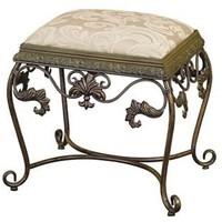 Iron Scroll Vanity Seat with Cushion | LampsPlus.com