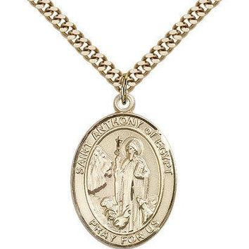 "Saint Anthony Of Egypt Medal For Men - Gold Filled Necklace On 24"" Chain - 30... 617759175066"