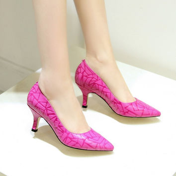Pointed Toe Leather With Heel Summer Shoes [4920625156]
