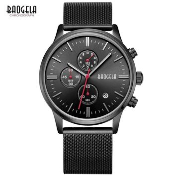 BAOGELA Chronograph Black Watches Mens Quartz-Watch Stainless Steel Mesh Band Slim Men Gold Watch Sports Wristwatches
