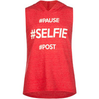 Full Tilt Selfie Girls Hooded Sleeveless Tee Red  In Sizes
