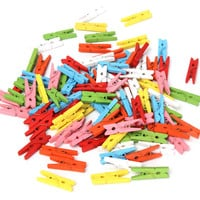 New 100 pcs 25mm Mini Color Wooden Craft Pegs Clothes Paper Photo Hanging Spring Clips Clothespins For Message Cards