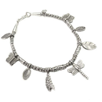 Handmade Sterling Silver Charm Beads Bracelet Bangle Or Anklet with Nature Beads of Dragonfly Butterflies Leaves, Hippie Boho Bracelet