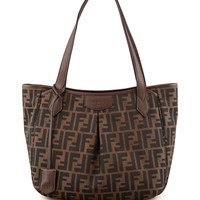Zucca Medium Shopping Tote Bag, Tobacco - Fendi