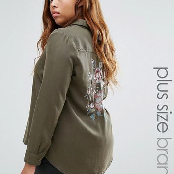 New Look Plus Embrodiered Back Shacket at asos.com