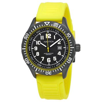 Nautica NSR 105 Black Dial Mens Yellow Silicone Watch NAD13527G