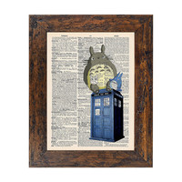 Totoros on the Tardis Doctor Who Original Print on Unframed Upcycled Bookpaper