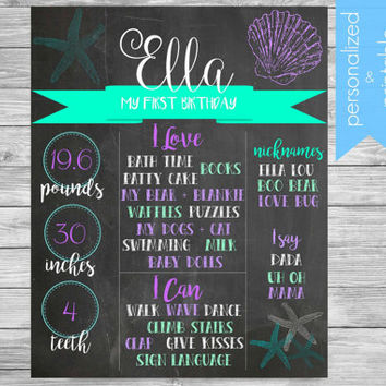 Mermaid Birthday Sign, PRINTABLE Chalkboard milestone, DIGITAL PRINTABLE, Mermaid Birthday, Sign poster 16x20 photo prop