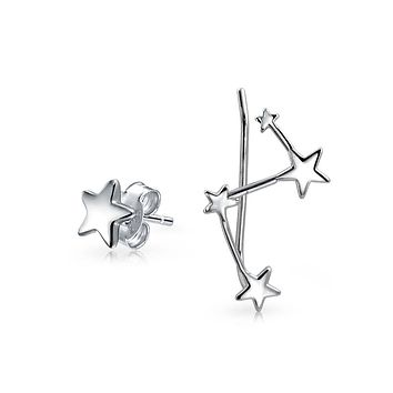 Celestial Star Constellation Ear Climber Stud Earrings Sterling Silver