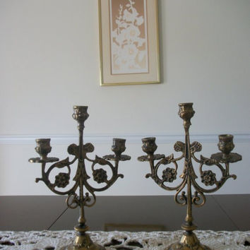 ChristmasinJuly 20% Sale Vintage Brass French Candelabra  Shabby Chic Candle Holders