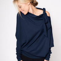 Deep Blue Viscose Asymmetric LeMuse Blouse with a bow on the Shoulder