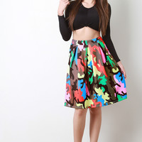 Multicolor Camouflage Pleated Skirt