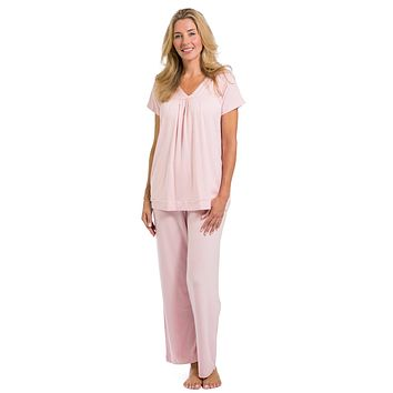 Women's EcoFabric™ Pajama Set with Gift Box- Short Sleeve Top and Full Length Pant