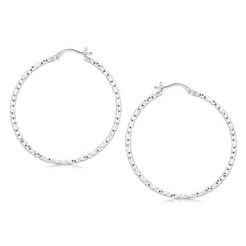 Sterling Silver Rhodium Plated Large Faceted Style Hoop Earrings