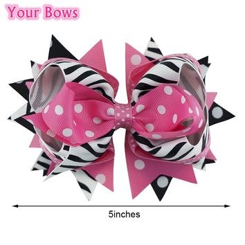 1PC 5 Inches Zebra Hot Pink Girls Hair Bows Children Hair Clips Boutique Stacked Big Bows For Girls Kids Hair Accessories