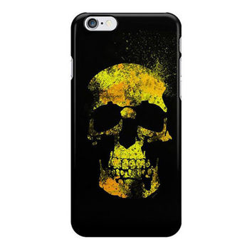 Black iPhone Case, Skull, Samsung Galaxy Snap Case, Black and Yellow, Halloween, Goth, Punk