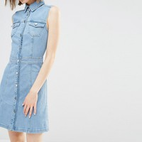 Warehouse Sleeveless Denim Dress