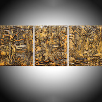 """ARTFINDER: triptych 3 panel large wall decor art """" Golden Glow """" acrylic three part impasto effect 3 panel on canvas wall abstract crystal resin 30 x 12"""" by Stuart Wright - """" Golden Glow """" extra large triptych 3 piece im..."""