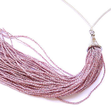 Tassel Necklace, Fringe Necklace, pink tassel necklace, dusty pink tassel, dusty pink necklace, Long fringe necklace, long tassel necklace,