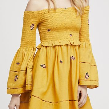 Counting Daisies Mini Dress by Free People - Yellow