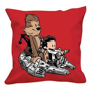 "Calvin & Hobbes As Han Solo And Chewbacca red WN07 pillow case (20""x20"" two sides)"