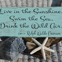 New Beach Decor, Reclaimed Beach Wood, Hand Painted (No Vinyl) Wood Sign in Beachy Ocean Teal Color, Distressed