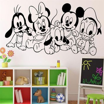 Cartoon Baby Characters Mickey Mouse Vinyl Sticker Wall Art Decor Children's Kids Room Ideas Room Interior Wall Stickers