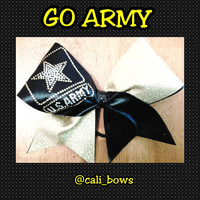 Rhinestone Go Army Bow donation made to Wounded Warriors with every purchase