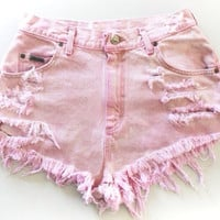 Pink high waisted shorts by jazlynnMarie on Etsy