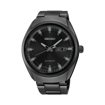 Seiko Men's Recraft Black Ion-Plated Stainless Steel Automatic Watch - SNKN43