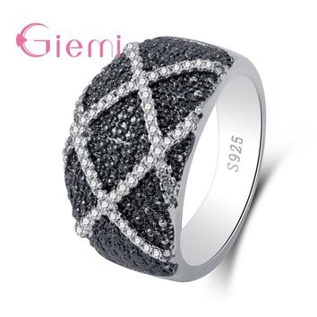 GIEMI Eternity Women Ring Lovers Romantic Cross Shape Wide Band Fashion S925 Sterling Silver Jewelry For Engagement Party