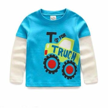 Awesome Boys Blue T is for Tuck Long Sleeve Jersey T-Shirt Top